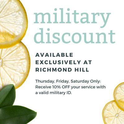 Military Discount Offer Richmond Hill Sugarbare